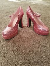 """ELLIE 5"""" Chunky Heel Pink Glitter Mary Janes Size 10 Shoes"""