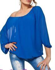 Sexy Miss Damen Chiffon Carmen Long Bluse Shirt Fledermaus Arm 34/36/38 Top Blau