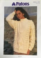 PATONS Aran Knitting Pattern Ladies Jumper Sweater. Size 32/42""
