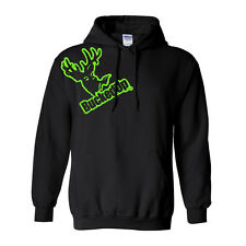 Bucked Up Distressed Hoodie Black with Green Logo