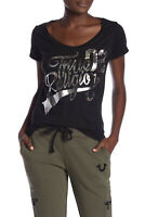 True Religion Women's Metallic Foil Graphic Logo Round V-Neck Tee T-Shirt