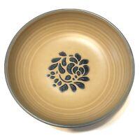 "Pfaltzgraff Folk Art Ribbed 8.5"" Vegetable Bowl Tan w/Blue Floral #11"