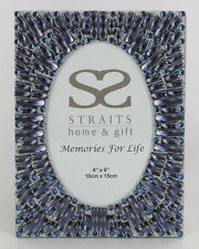 "THE STRAITS OVAL BLUE JEWELLED PHOTOFRAME SIZE 4""X6"" ITEM: 2737"