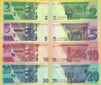 Zimbabwe Set 2, 5, 10, 20 Dollars 2019-2020 UNC Banknotes