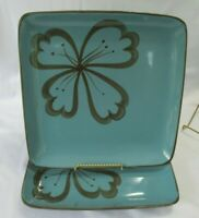 Pier 1 Hibiscus Square Teal & Brown Flower Set of 2 Dinner Plates 10.5""