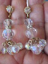 Vintage dangle CLEAR FACETED CRYSTAL  earrings---651