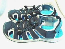 NEW  **EDDIE BAUER** Dark Gray & Turquoise Leather Bump Toe Sandals, 8 M