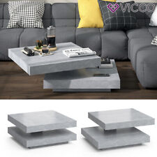 VICCO Couchtisch ELIAS beton 360° drehbar 70 x 70 x 34 cm Wohnzimmertisch Tisch
