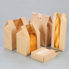 Paper Bread Loaf Bag Kraft Food Packaging Storage Bakery Bag with Front Window *