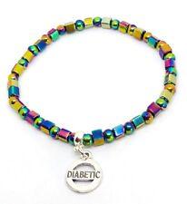 Rainbow Healing Haematite Hematite Diabetic Medical Alert ID bracelet