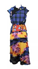 $1,710 MSGM Ruffle Multicolor Long Dress In Printed Crepe De Chine Size 2