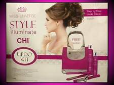CHI MISS UNIVERSE PINK UPDO STYLING KIT HAIR STRAIGHTENER FLAT + CURLING IRON