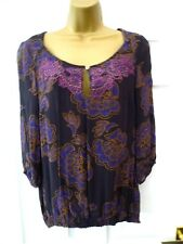 PER UNA Ladies Size 12 Purple Gold Sparkly Floral 3/4 Sleeve Party Tunic Top