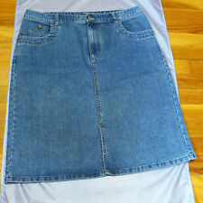 French Cuff Denim Skirt, Cotton Blend, Size 12