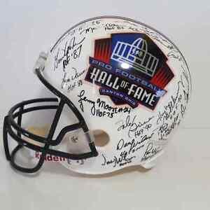 NFL Hall Of Fame Helmet 33 Signed Autographs Bart Starr Merlin Olsen Beckett COA