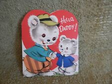 "Vintage Valentine's Card, Gibson 10V-12B-85062, ""Daddy"", Fluffy Bears from 1957"