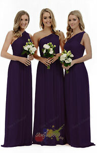 Chiffon One shoulder Long Evening Formal Party Ball Gown Prom Bridesmaid Dresses