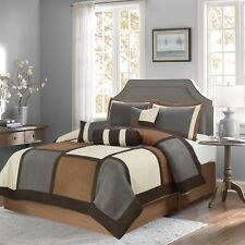 Brown & Gray & Beige Suede 7-piece Patchwork Comforter Set Winter Bedding