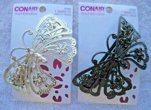 Conair Diamonds Metal Butterfly Large Hair Barrette Clip Fancy Gems Silver Black