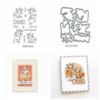Little Cute Deer Handcrafts Cutting Dies&Stamp Paper Card Making Stencil DIY