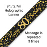 80th Birthday Party Sparkling Age 80 Black & Gold Foil Bunting Banner Decoration
