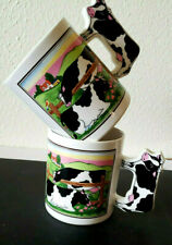 2 Vintage Coffee Cup Mug Farm Scene Holstein Cows Fence Pasture Made in Japan