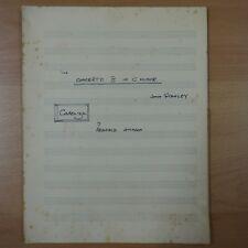 CADENZA to John Stanley concerto C minor by REGINALD JOHNSON , organ manuscript