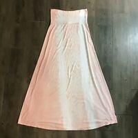Womens Maxi Dress Strapless Full Length Small S Tie Dye Peach Green Dragon