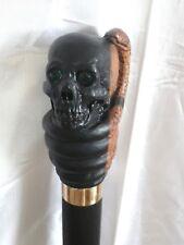 canne de marche bâton tête de mort serpent  sculpté artiste Français stick cane