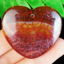 Striking  Red Dragon Veins Agate Heart Pendant and Sterling silver chain added