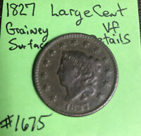 1827 Matron Head Large Cent - US Early Copper Coin Tough Date VF Very Fine Detai