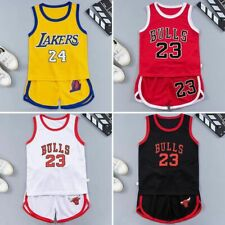 Summer Kids Baby Boys Girls Basketball Outfits Clothes Sport T-shirt+Shorts Sets