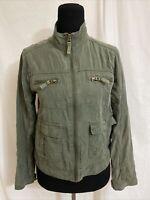 Mossimo Supply Co Jacket Coat Women's Medium M Green Zipper Pockets