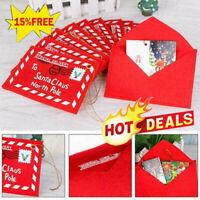 Ornaments Xmas Tree Card Decor Red Navidad Santa Claus Nice Envelope R8F1