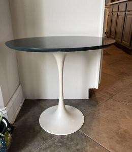 """Saarinen Knoll 20"""" Tulip Side Table White Metal Blue Wood Laminate Oval Vintage"""