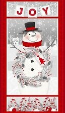 """Frosty Friends Snowman Christmas FLANNEL Fabric Panel 23""""   #F6977P"""