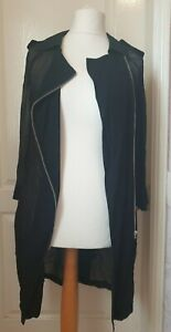 MINT VELVET Size 10 Sheer Black Trench Style Coat/Jacket  With Side Zip And Belt
