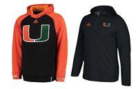 adidas NCAA Official Miami Hurricanes Team Player Training Pullover Hoddie Men's