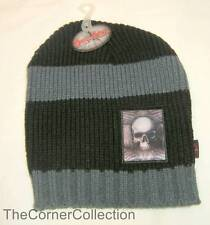 BLACK & GRAY STRIPED BEANIE SKULL CAP with DARK SIDE SKULL GRAPHIC PATCH