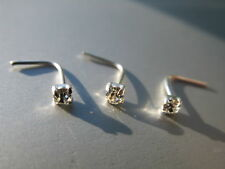3 x Sterling Silver 925 Nose Studs ~ Clawset Clear Diamante Gem 2mm Clawsetting