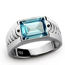 Mens Ring BLUE TOPAZ with Natural Black Onyx Gemstone SOLID 925 Sterling Silver