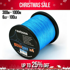 ReelBoss Blue PE Braid Fishing Line 6lb 20lb 30lb 40 50lb 100lb, 300m 500m 1000m