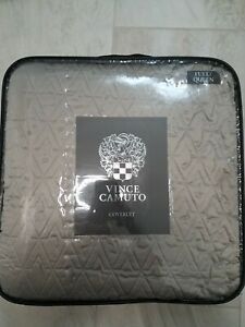Gray Full / Queen Coverlet by Vince Camuto  NEW Signature V
