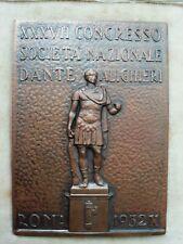 Placca Fascismo società Dante Alighieri Roma 1932