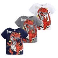 Kids Boy Cartoon Dinosaur Printing Cotton T-shirt Infant Short Sleeve Tops 1-8Y
