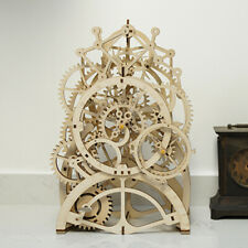 Robotime DIY Wooden Mechanical Pendulum Clock Model Kits Vintage for Table Desk