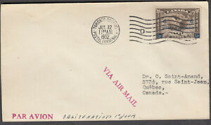 1932 #C4 6¢ on 5¢ SURCHARGE(#C2) AIR MAIL STAMPS FIRST DAY COVER F-VF