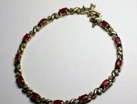 Yellow Gold Ruby Diamond bracelet 4 to 6 ctw diamonds and rubies 10 Kt Stunning