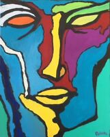 "Original Painting ""Abstract Face #4"", Acrylic on Canvas, 16""x20"",  C. Pecharka"