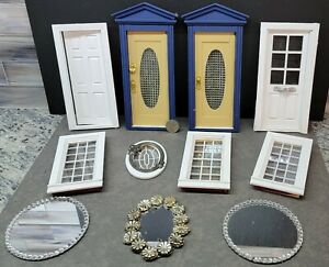 Victorian Dollhouse Used salvage 4 doors 4 windows 3 mirrors Doll House